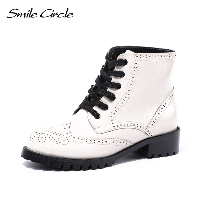 Smile Circle patent leather ankle boots women chelsea Round toe lace-up Bullock short boots Women Fashion punk Shoes 2018 white smile circle suede cow leather chelsea boots women ankle boot fashion rivets round toe lady shoes women high heel boots