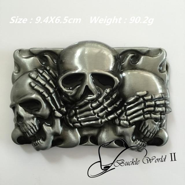 863a15fb8b5 Retail distribution classique Vintage argent flamme timide crâne métal  boucles de ceinture convient 4 cm large