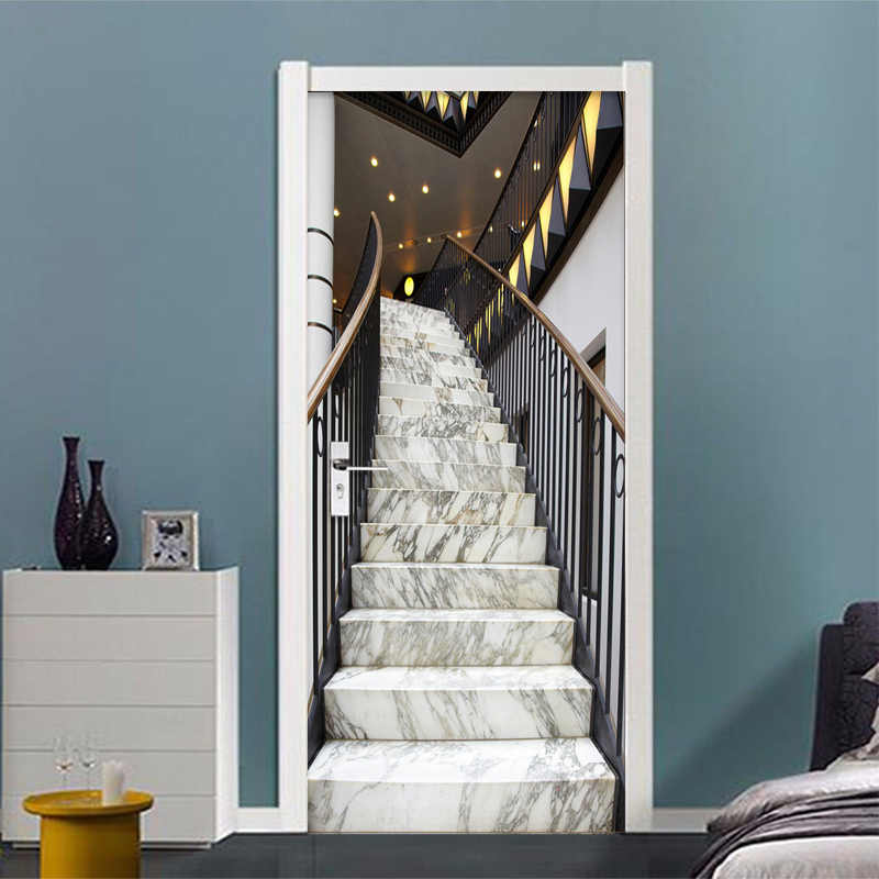 3D Stereo Marble Stair Photo Wall Sticker Wallpaper Living Room Study Hotel Space Expansion Murals PVC Self-Adhesive Home Decor