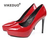 VIKEDUO Fashion Platform Pumps Women Red Thin High Heel Shoes Ladies Brand Handmade Shoe Genuine Leather Wedding Office Zapatos