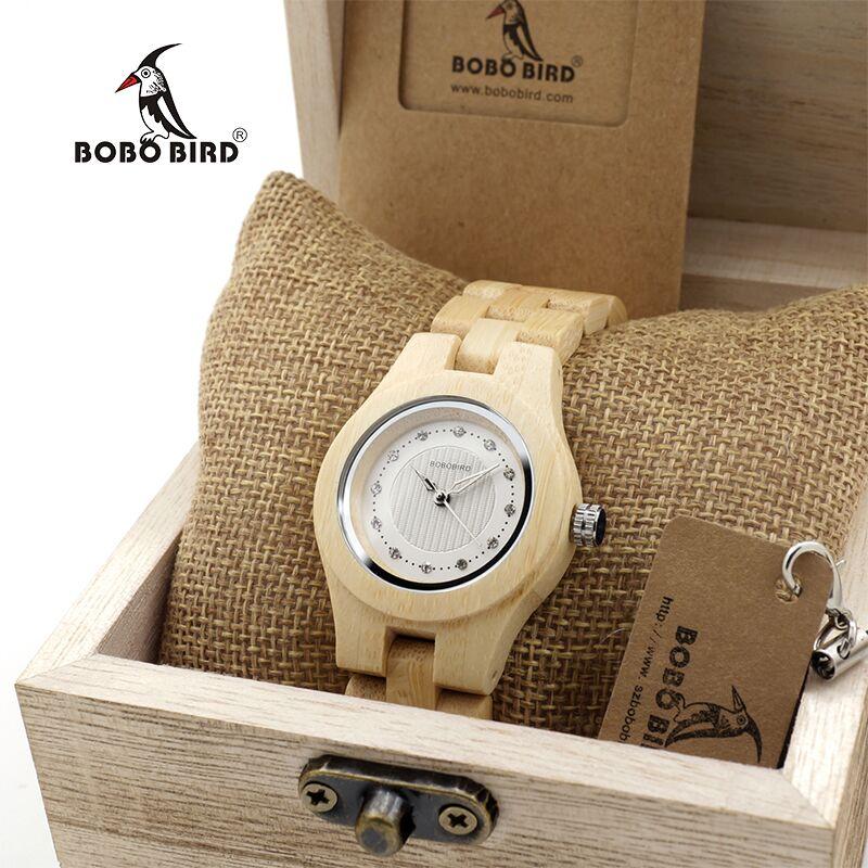 BOBO BIR Natural Bamboo Ladies Watches Top Brand Design Clocks CdO10 for Women in Wooden Box