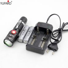 YUPARD XM-L2 LED flashlight Stepless Dimming torch usb charging lamp T6 LED camping+2200 mAh 18650 rechargeable battery+charger(China)