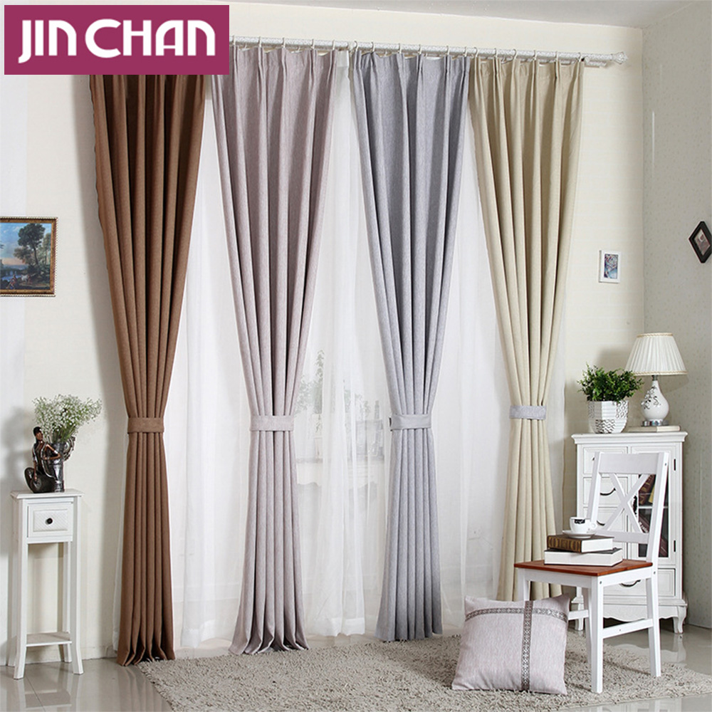 Modern Solid Linen Blackout Window Curtains Drapes Shades