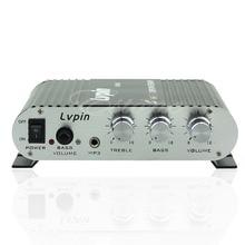 Hi-Fi Amplificador Mini Amplificador Radio MP3 Estéreo 200 W 12 V Para El Coche Hogar de La Motocicleta Negro/Plata
