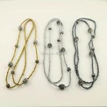 5 Пряди Проложить Кристалл Rhinestone Бусы Драгоценного камня Ожерелье, с 3 мм Черный Гематит Ожерелье, ювелирные изделия Ожерелье Из Бисера