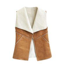 4ce43b6740864d Vintage Herbst Winter Frauen Wildleder Warme Fleece drehen-unten Kragen Weste  Jacken Ärmelloses Dünne Tops