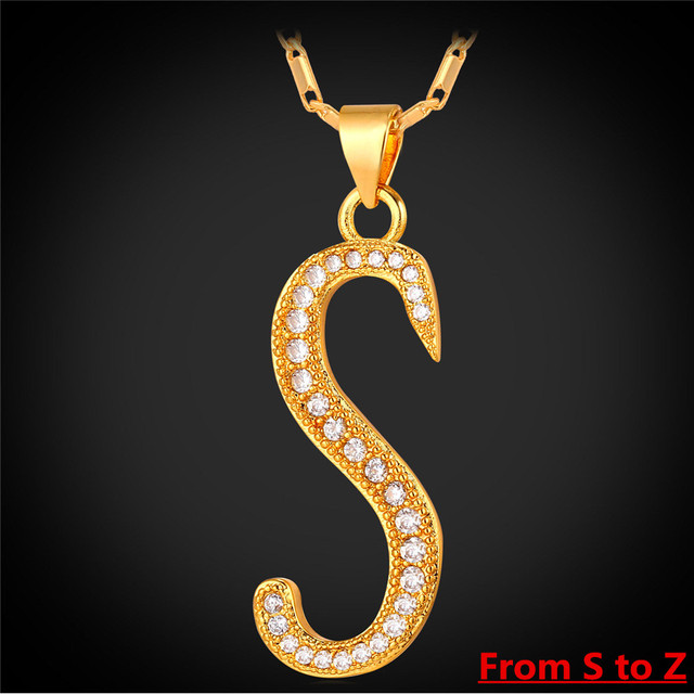Letter Z Necklace ALP Collare S to Z Alphabet Letter Pendant Necklace Unisex Gold/Silver Color  Initial Letter Necklace New Fashion Jewelry P170
