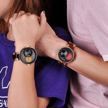 Relogio Masculino Montre Hommes Femmes BOBO Oiseau Montre-bracelet à Quartz Homme Dames 2 Fuseaux Horaires Bois Boîte Montres Erkek Kol Saati