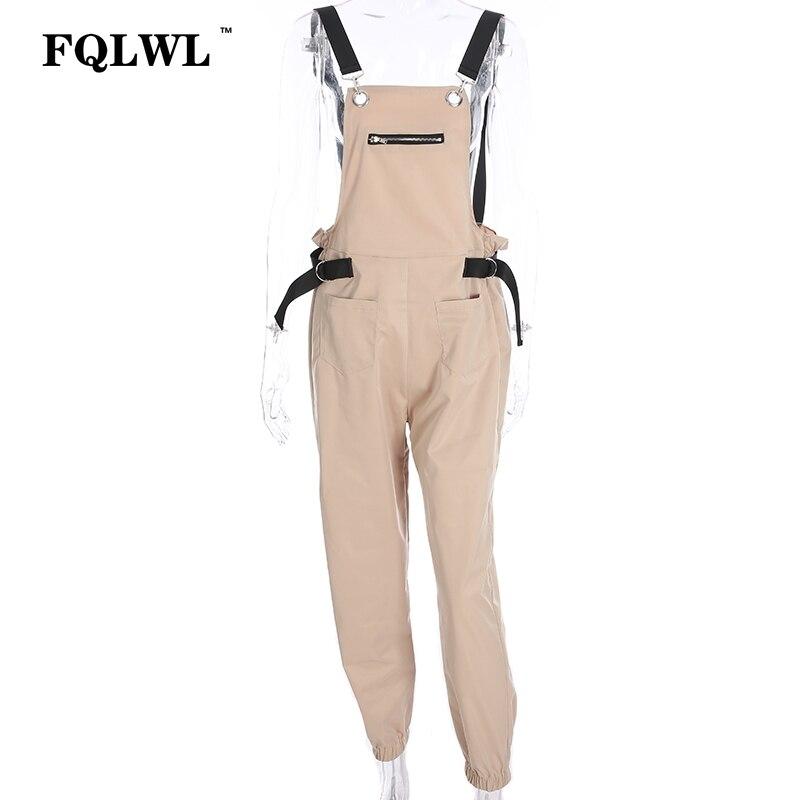 FQLWL Adjusted Strap Sexy Jumpsuit Suspenders Sleevlesee Black Women Rompers Combinaison Pantalon Femme Summer 2018 Cargo Pants