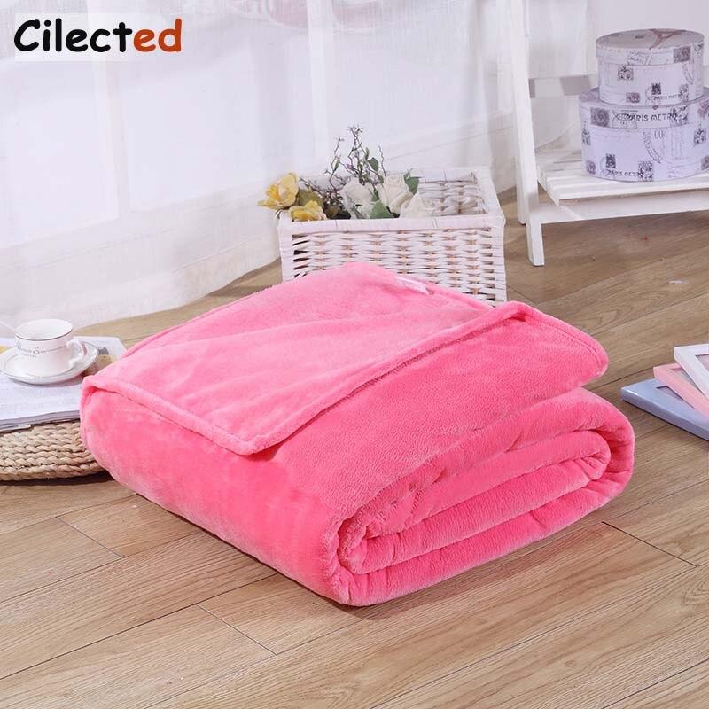 Cilected Home Textile Pink Sofa Bedding Coral Fleece Blanket Throw Winter Soft Warm Bedsheet 100*140cm 150/180*200cm 200*230cm