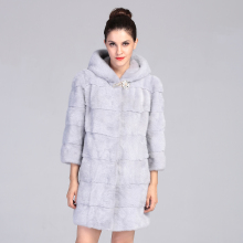 AAA  Light Grey Mink Fur Coat  Hooded for Women Long Real Mink Fur Jacket Natural Mink Fur Parka 2016 New