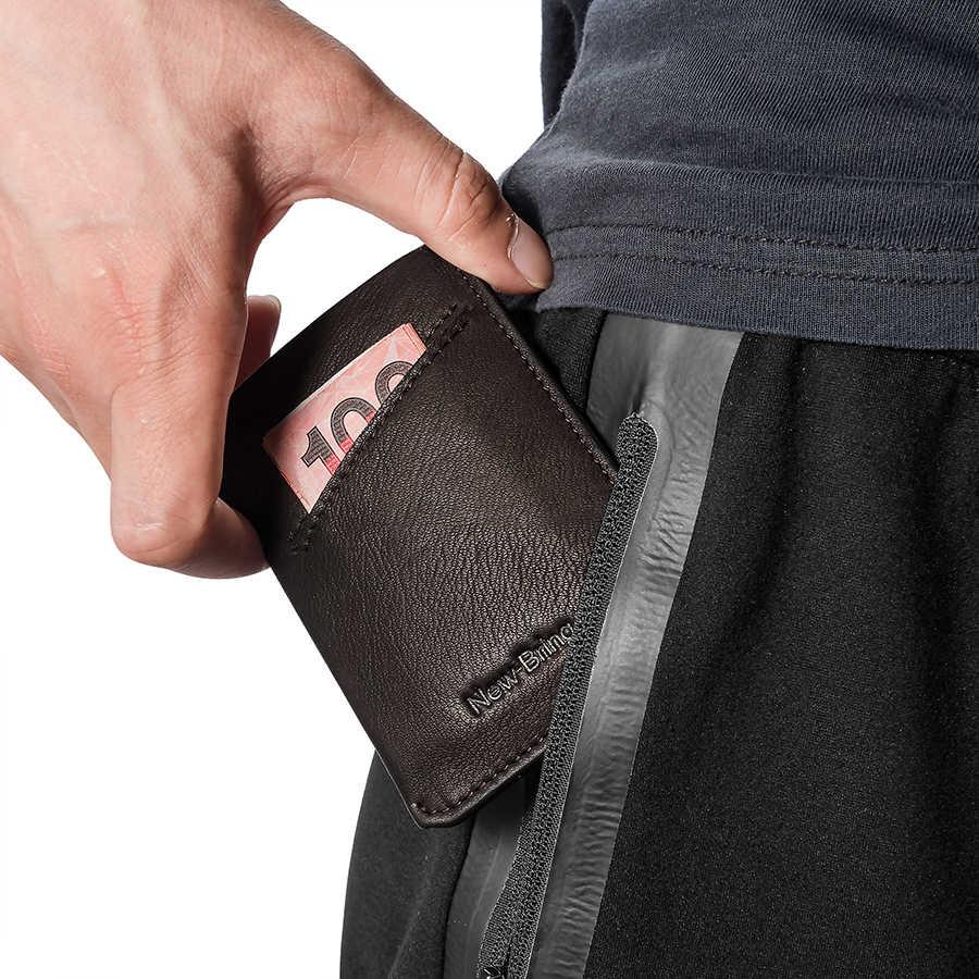 نيوبرينغ محفظة جلد رفيعة الرجال بطاقة الائتمان و ID حاملي المدمجة محفظة صغيرة النقدية حامل بطاقة المرأة كم محفظة أزرق أسود