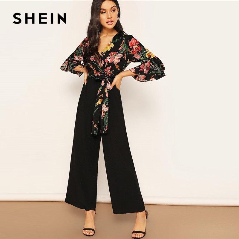 Shein senhora elegante floral impressão envoltório corpete perna larga macacão primavera profundo decote em v nó hem flounce manga workwear macacões
