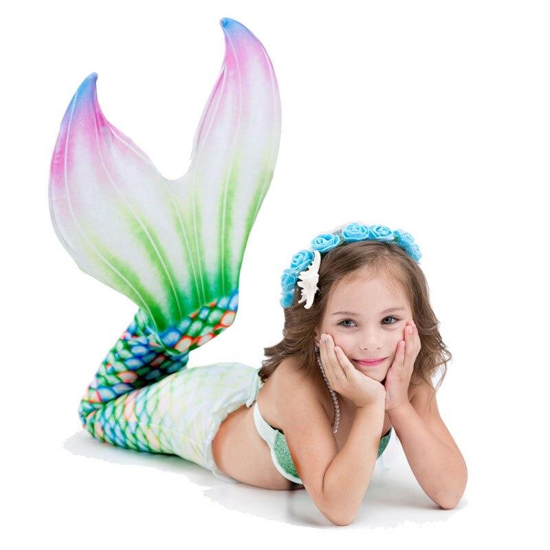 3 pièces filles queue de sirène maillots de bain Cosplay sirène Bikinis ensemble enfants sirène queues maillot de bain plage natation Costume vêtements pour nager