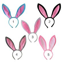 Adult Children Cute Long Bunny Rabbit Ears Headband Plush Sweet Candy Color Hair Hoop Cosplay Stage Dancing Party Headpiece Gift