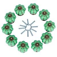 10 יחידות ירוק/לבן ידית דלת קבינט מגירת ארון בגדים ארון מטבח קרמיקה בציר חמוד חולץ ידית עם ברגים מותקנים