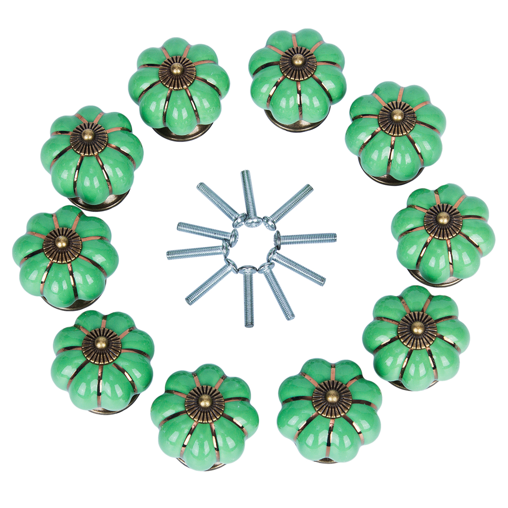 10pcs Green/ White Cute Vintage Ceramic Door Knob Cabinet Drawer Wardrobe Cupboard Kitchen Puller Handle with Installed Screws 10pcs lot free shipping european style porcelain ceramic drawer cabinet wardrobe door knob 2050mbl