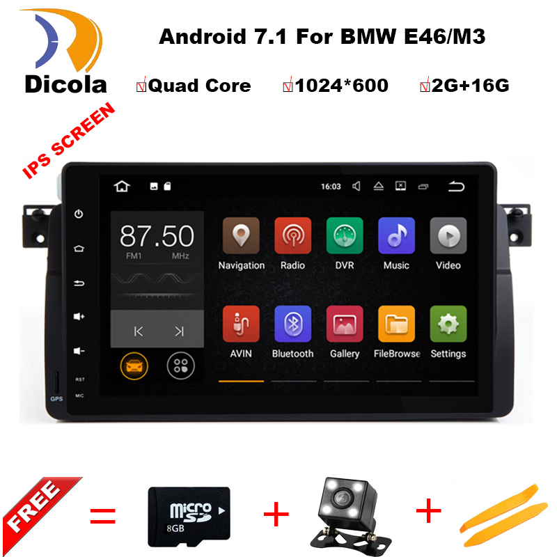 Android 7.1 Quad Core GPS Navigation 9 Inch Full Touch Car DVD Multimedia for BMW E46 3 Series/M3 95-05 with BT/RDS/Radio/Canbus цены