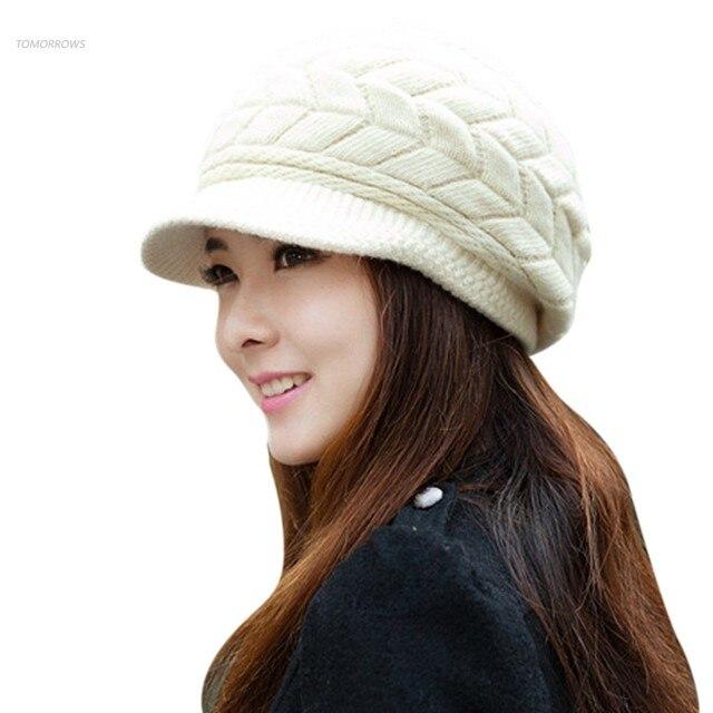 Elegante sombrero de mujer otoño invierno gorros sombrero hecho ...