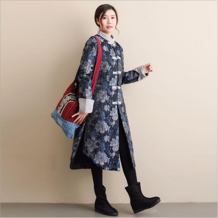 Winter Thickened Vintage Flower Pattern Clothes Long Jacket Retro Chinese Style Stand Collar Women's Cotton Padded Trench Coat