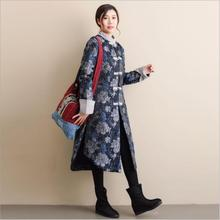 Winter thickened Vintage Flower pattern clothes Long jacket retro Chinese style Stand collar womens cotton padded Trench Coat