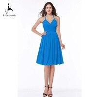 Eren Jossie Cheap Price Halter Neck Knee Length Bue Chiffon Bridesmaid Dress Pretty Ladies Dress for Wedding Party
