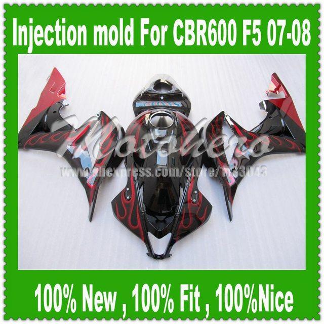 For HONDA F5 CBR600RR 07 08 CBR 600 600RR Black Red Injection CBR600 RR CBR600F5 07-08 F5 2007 2008 Fairing
