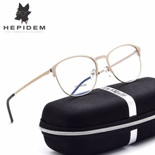 HEPIDEM High Quality Men Glasses Frame Women Brand Designer Titanium Round Prescription Eyeglasses Full Optical Frame ip Plating
