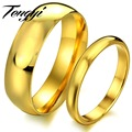 TENGYI Price for 2 pcs factory jewelry gold glossy titanium steel rings couple yellow gold engagement rings  TY316