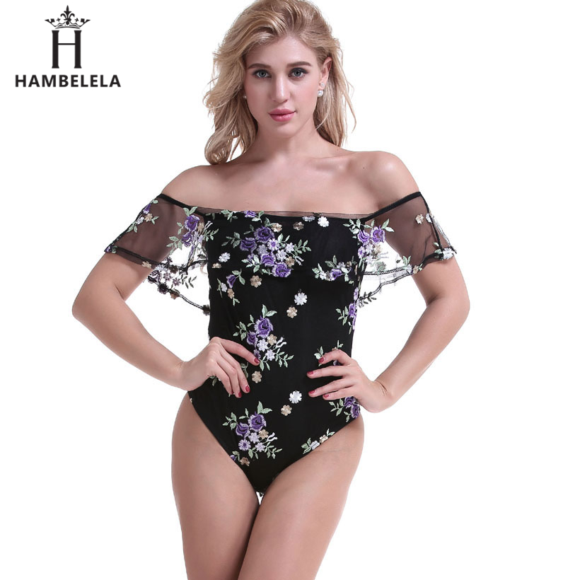 HAMBELELA Ruffle Short Sleeve Sheer Bodysuits Women Embroidery Floral Beach Wear Sexy Tops Bodysuit Shirt One Piece Bodysuit