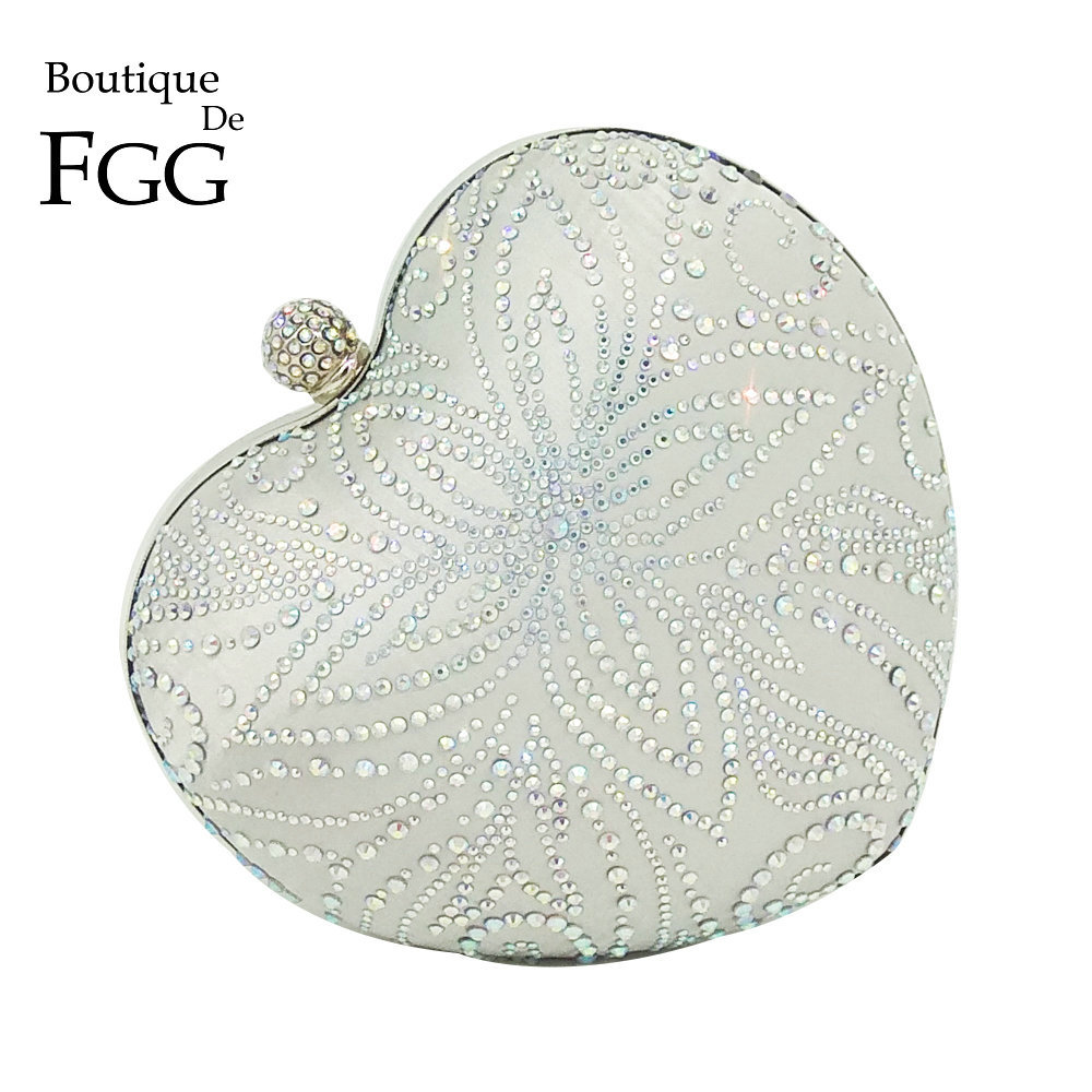 Boutique De FGG Silver Crystal Flower Women Heart Evening Clutch Bags Hardcase Metal Clutches Wedding Party Bridal Handbag Purse