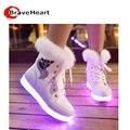 2016 35-40 plus size sapatos casuais luz estilo LED colorido de alta top sapatos laço cor pura sapatos para venda quente