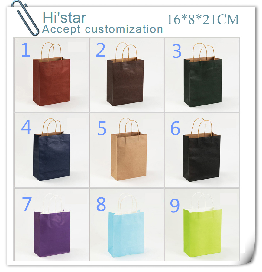 16*8*21cm 50pcs Kraft Paper Bags Recyclable Gift Jewelry Food Bread Candy Packaging Shopping Party Bags For Boutique ...