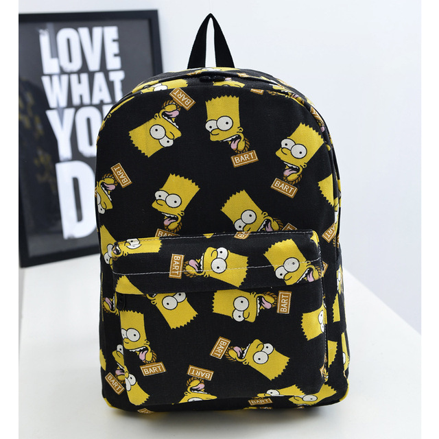 Hot Fashion Bart Simpson men s women printing backpacks canvas students  outdoor school shoulder book bags mochilas 9e30f19f59e06