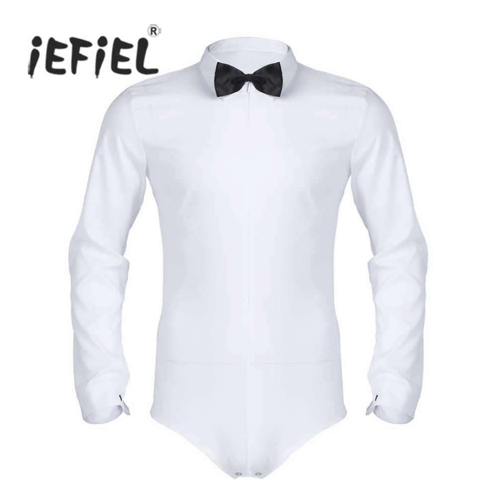 iEFiEL Fashion Sexy Clubwear Costumes Mens Body Suit Zipper Solid Latin Modern Dance Shirt with Bowtie One-piece Romper Shirt ...