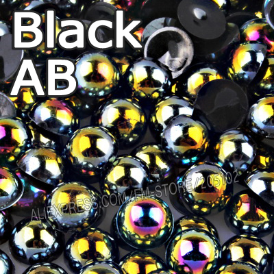 Black AB Half Round bead Mix Sizes 2mm 3mm 4mm 5mm 6mm 8mm 12mm imitation ABS Flat back Pearl for DIY Nail art jewelry Accessory