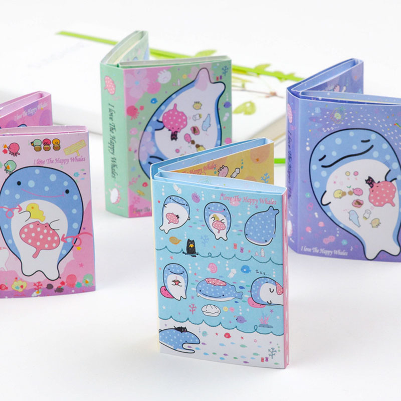 Kawaii Whale Fish 6 Folding Memo Pad Sticky Notes Paper Craft Bookmark Stationery School Office Supply Notepads