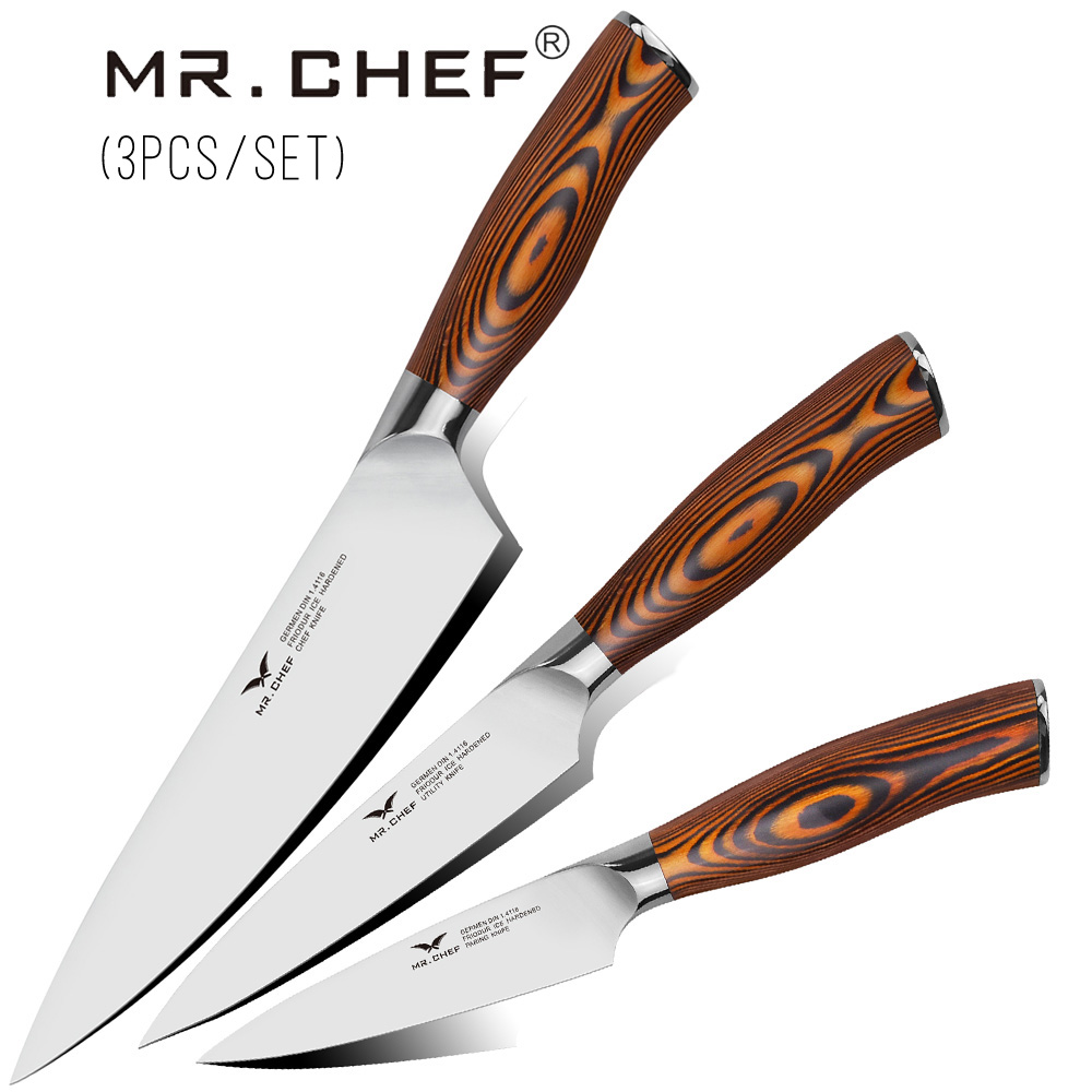 3PCS/Set Professional Kitchen Knives Kits 8 Chef Knife +5Inch Utility Quality Cooking Tool Gift German Stainless Steel Heavy