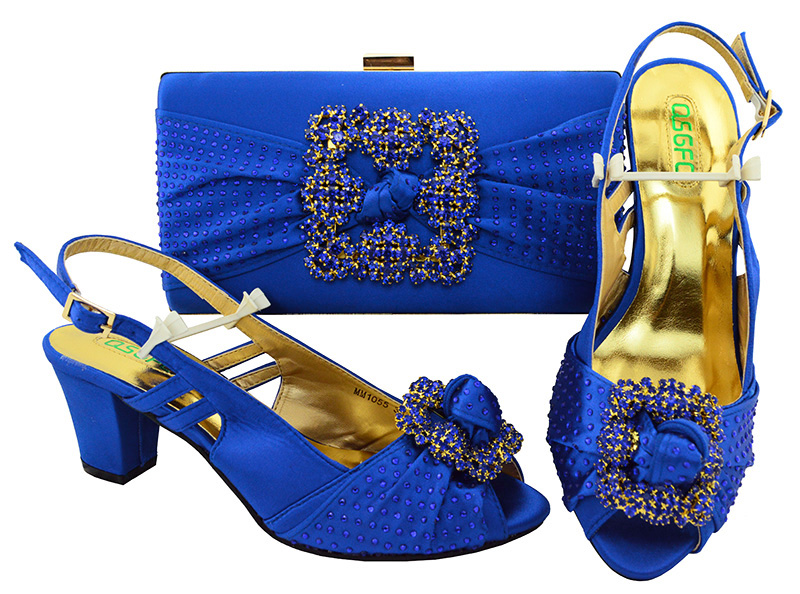 Royal Blue Shoes and Bag Sets for Italian Women Shoes and Bags to Match with Shoes with Combination Shoes High heel MM1055 g41 wonderful pattern european ladies shoes and bags sets with stone high quality women high heel with bag sets free shipping