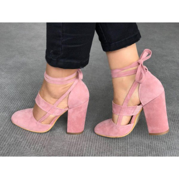 50f57dc0e4d32 Women's Soft Suede Chunky Heel Strappy Sandals Round Toe Cross-tied Retro  Shoes Pink Leisure Sexy Big Size 14 15 16 FSJ