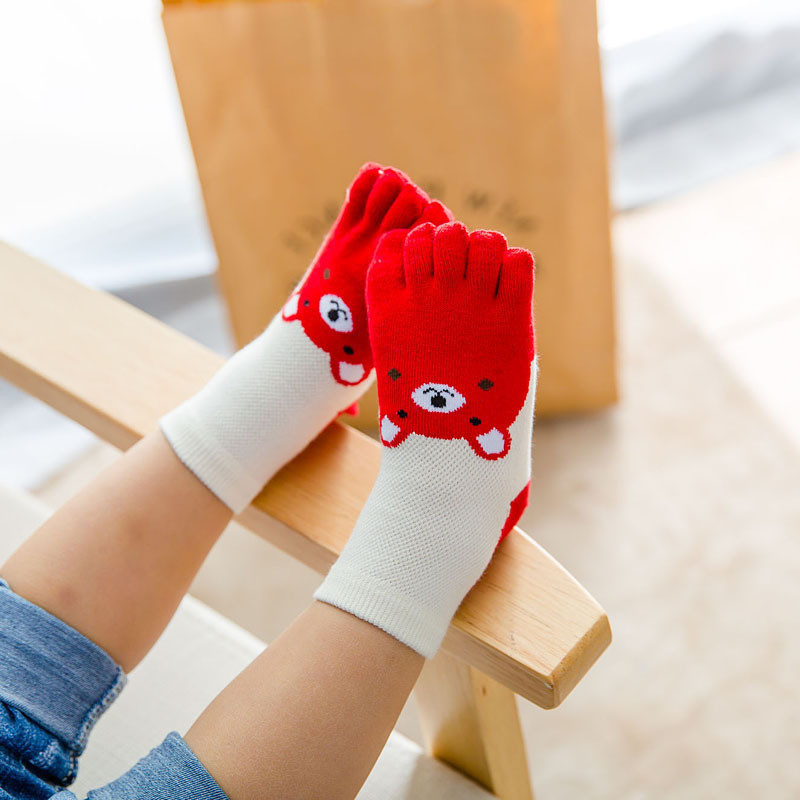 New Design Cute Cartoon Bear Five Toes Socks Kids Socks Girl Boy Children Hosiery Five Fingers Socks Mesh Breathable Foot Socks 3