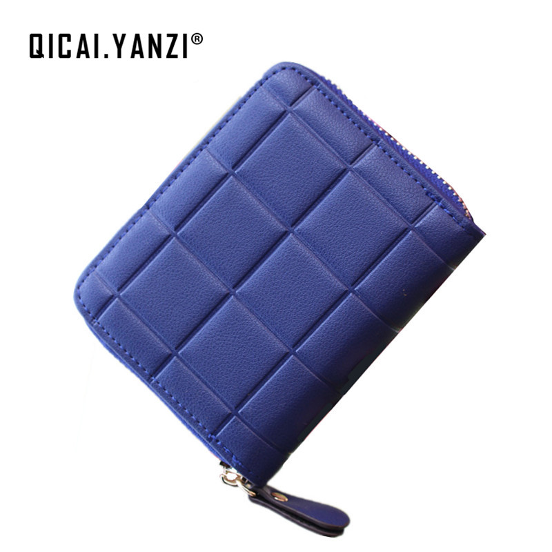 QICAI.YANZI New Fashion Lady Mini Wllats Women Candy Color Clutch Zipper Wallet Card Holder Case Purses Zipper Coin Holder P199 fashion women coin purses dots design mini girl wallet triple zipper clutch bag card case small lady bags phone pouch purse new