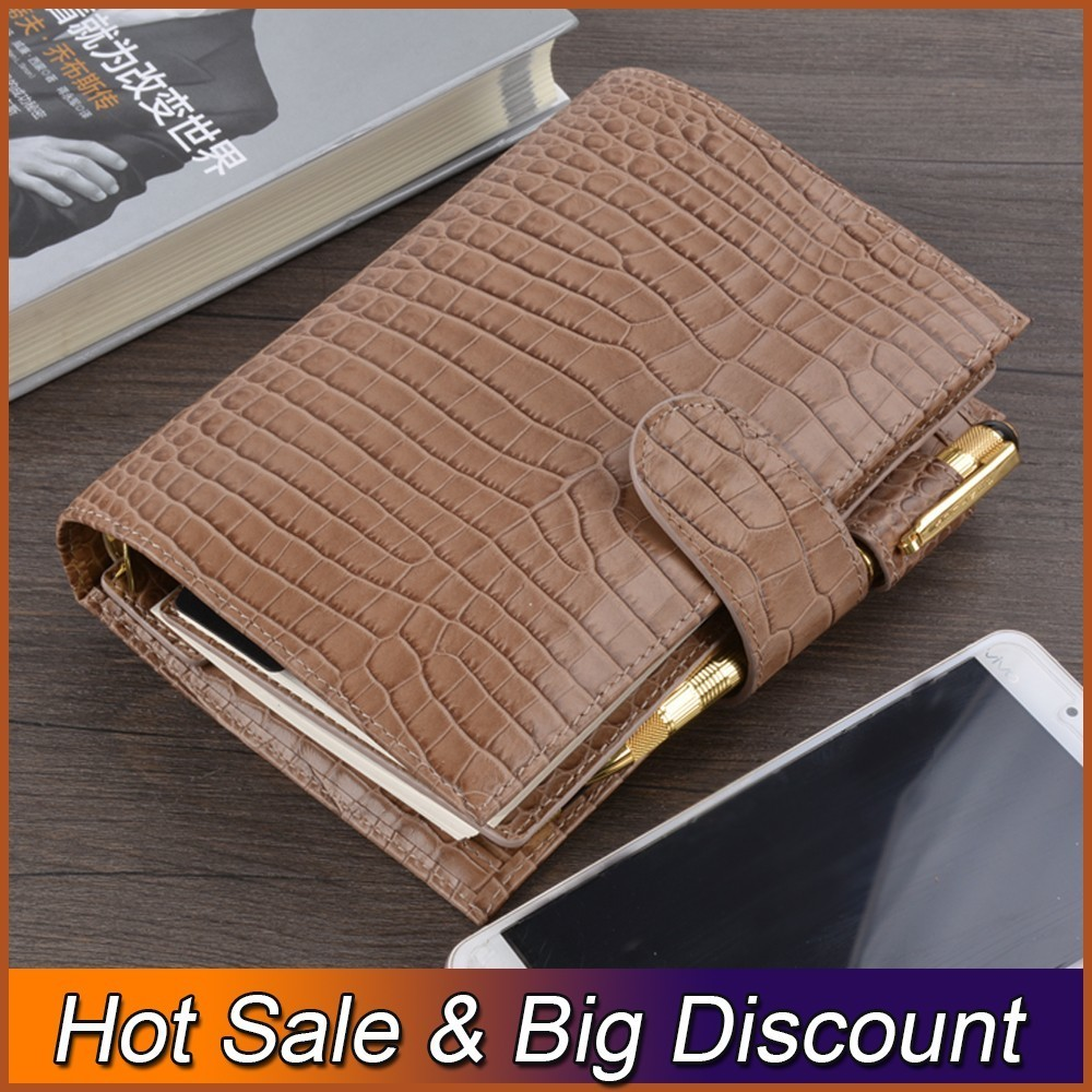 100% Genuine Leather Rings Binder Notebook Personal Size Agenda Organizer Diary Journal Sketchbook Planner with Big Money Pocket