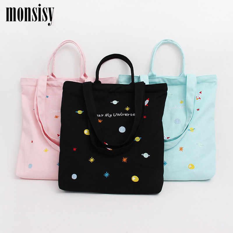 aeefe3d181e8 Monsisy Холщовая Сумка-тоут женская сумка для покупок продуктовая сумка на  плечо модная Univers/