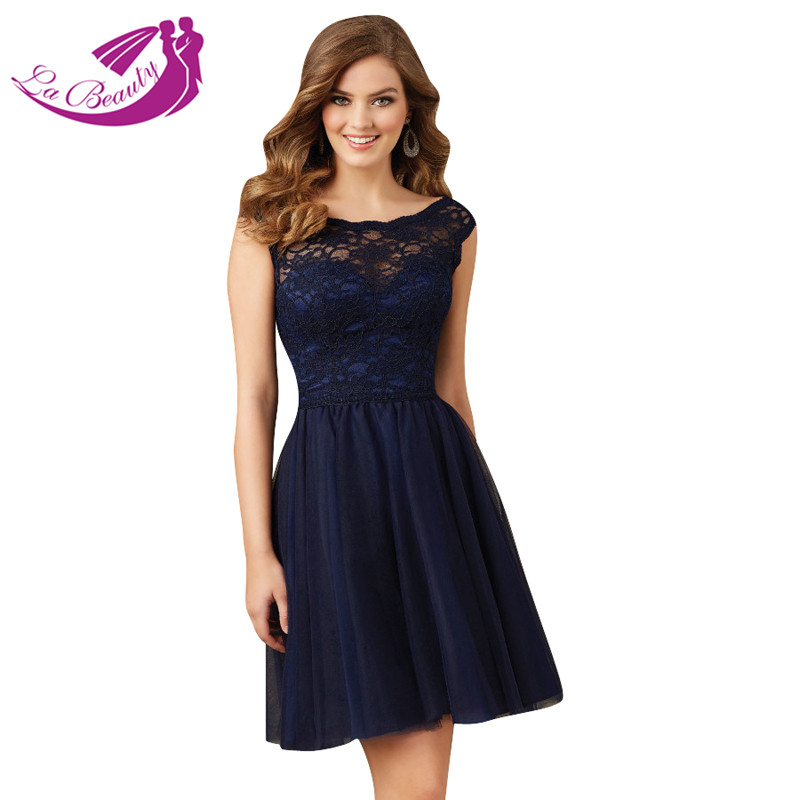 Navy Blue Short Cocktail Dress Bateau Open Back Tulle Lace Party ...