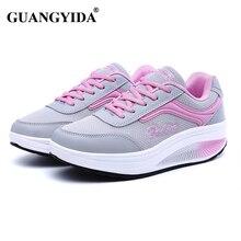 Обувь на платформе, увеличивающая рост женские кроссовки прогулочная обувь для женская обувь на платформе с полукруглой подошвой дышащие ST42