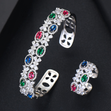 GODKI Luxury Trendy Saudi Arabia Bangle Silver Ring Set Jewelry Sets For Women Wedding Engagement brincos para as mulheres 2019