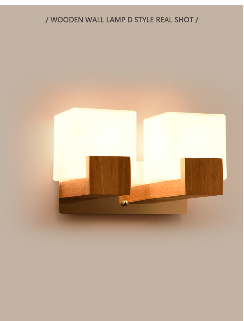 Modern Led Wooden Wall Lamps Nordic Frosted Glass Wood Lights Sconce Hallway Aisel Hotel Bedroom Minimalist Solid Wood Corridor Led Lamps Lights & Lighting