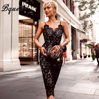 Bqueen 2018 New Sexy Deep V Backless Lace Women Bandage Party Dress Fashion Spaghetti Strap Black