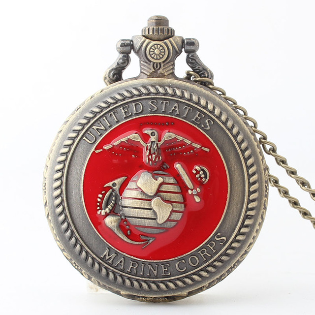 United States Marine Corps USMC Red Pocket Watch